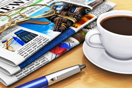 fresh news: Corporate office life and business break concept: newspapers with business news, cup of fresh black coffee, eyeglasses and blue ballpoint pen on wooden office table with selective focus effect. Design is my own and all texts are abstract