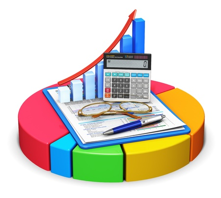 analytic: Business finance, tax, accounting, statistics and analytic research concept: office electronic calculator, bar graph, pen and eyeglasses on financial reports in clipboard on color pie chart isolated on white background. All texts are fully abstract Stock Photo