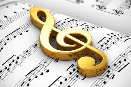 clef: Creative musical concept: golden shiny treble clef on white score sheet music with notes