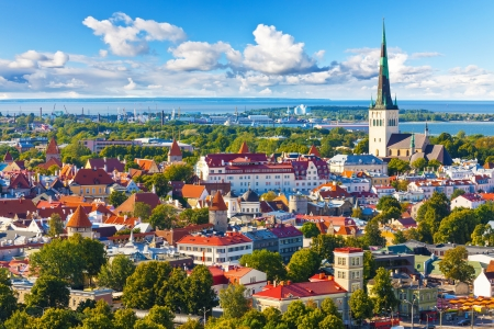 baltic sea: Scenic summer aerial panorama of the Old Town in Tallinn, Estonia Stock Photo