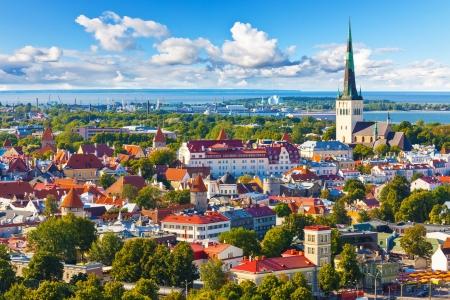 tallinn: Scenic summer aerial panorama of the Old Town in Tallinn, Estonia Stock Photo