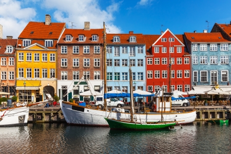 scenic: Scenic summer view of color buildings of Nyhavn in Copehnagen, Denmark