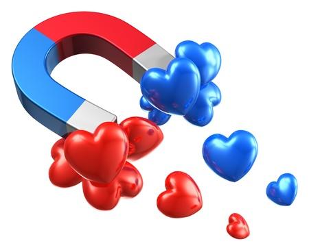 corazones azules: Hombre abstracto creativo y mujer relaci�n de conceptos im�n de herradura con rojo y azul corazones aislados sobre fondo blanco