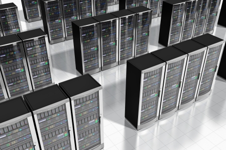 hosts: Cloud computing and computer telecommunication technology concept  rows of network server racks in datacenter  Design is my own and all text labels are fully abstract