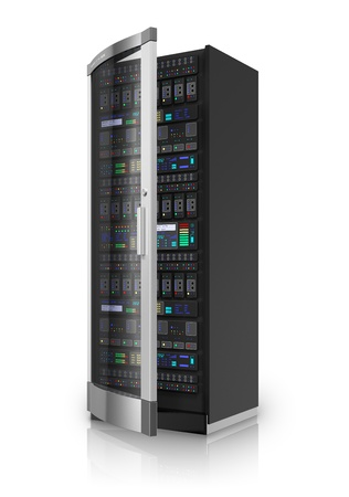 Telecommunication and computer cloud networking technology service concept  network server rack isolated on white background with reflection effect  Design is my own and all text labels are fully abstract