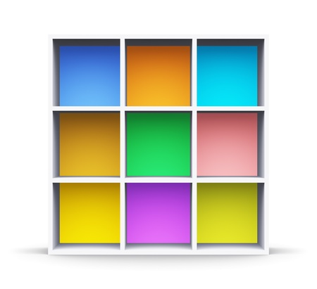 Abstract color shelf isolated on white background photo