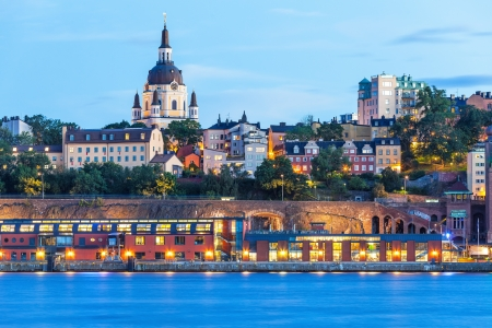 Evening summer scenery of the Old Town (Gamla Stan) in Stockholm, Sweden photo