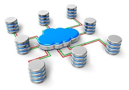La computación en nube, la red de bases de datos, alojamiento web y de Internet de negocio de telecomunicaciones concepto de grupo de metales de disco duro HDD iconos de disco conectados al icono azul nubes aisladas sobre fondo blanco Foto de archivo