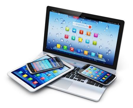 모바일 장치, 무선 통신 기술 및 인터넷 웹 개념