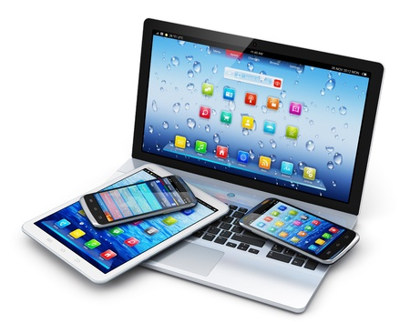 Mobile devices, wireless communication technology and internet web concept  photo