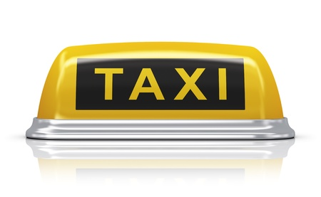 Yellow taxi car roof sign isolated on white background with reflection effect photo