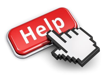 segítség: Kreatív segítséget, támogatást és segítséget koncepció kézi linket kiválasztás számítógépes egér kurzor gomb piros fém fényes gomb a Súgó szöveg elszigetelt fehér háttér Stock fotó