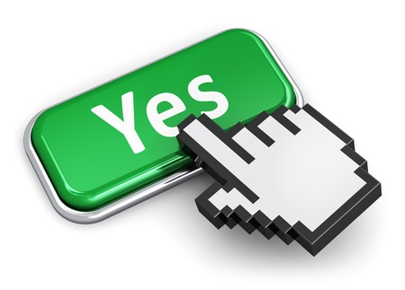 confirm confirmation: Creative voting and survey concept  hand link selection computer mouse cursor pressing green metal glossy button with Yes text isolated on white background