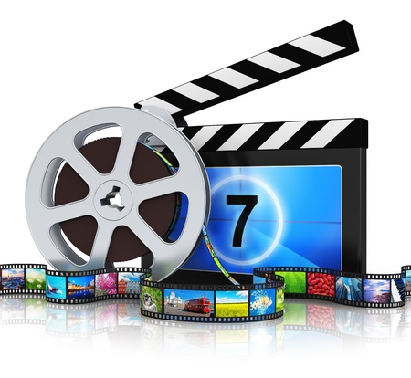 Cinema, movie, film and video media industry production concept  clapper board, metal film reel and filmstrip with colorful pictures isolated on white background with reflection effect  All photos are my own from my own portfolio photo