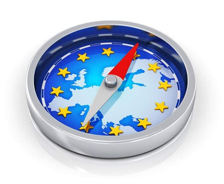 european map: European Union political concept  metal magnetic compass with blue map of Europe with golden stars isolated on white background with reflection effect