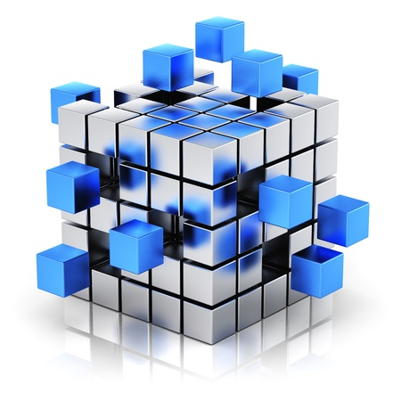 assembling: Creative business teamwork, internet and communication concept  metal cubic structure with assembling blue metallic cubes isolated on white background with reflection effect
