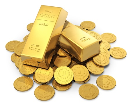 Creative business, finance, banking, stock exchange market trading and wealth concept  heap of golden ingots or bullions and gold money coins isolated on white background photo