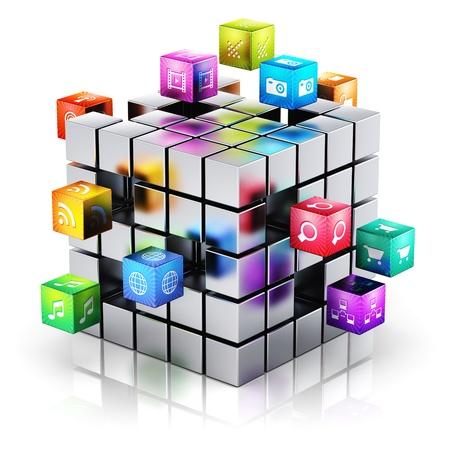 ontwikkeling: Creatieve mobiele toepassingen, media technologie en internet netwerksites communicatieconcept metalen kubus met een wolk van kleur pictogrammen voor toepassingen op witte achtergrond met reflectie effect