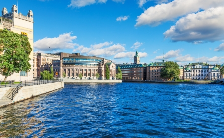 town houses capital: Scenic summer panorama of the Old Town  Gamla Stan  in Stockholm, Sweden