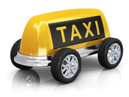 yellow taxi: Creative taxi concept  car from yellow taxi roof sign and wheels isolated on white background with reflection effect