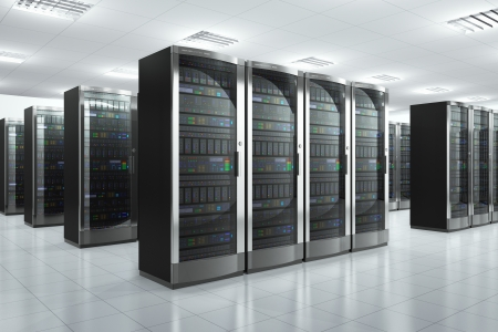 racks: Modern network and communication concept  server room in datacenter  Design is my own and and all text labels are fully abstract Stock Photo