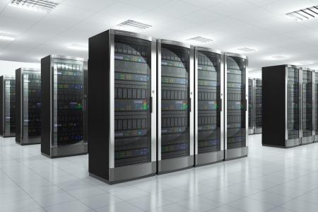 hospedagem: Rede moderna e sala do servidor conceito de comunica��o no datacenter design � minha e e todos os r�tulos de texto s�o totalmente abstrato