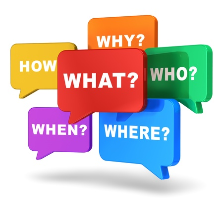 Creatieve business concept groep van kleur tekstballonnen met vragen op een witte achtergrond Stockfoto