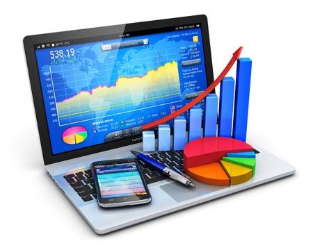 ontwikkeling: Mobiel kantoor, beurs handel, statistieken accounting, financiële ontwikkeling en bancaire business concept moderne laptop of notebook computer pc met beurs applicatie software, groei staafdiagram, cirkeldiagram, balpen en touchsc
