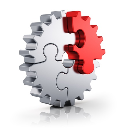 Business-Kreativität, Teamarbeit, Partnerschaft und Erfolg Konzept metal gear von puzzle-Stücke auf weißem Hintergrund mit Reflexion Wirkung isoliert Standard-Bild - 20295255