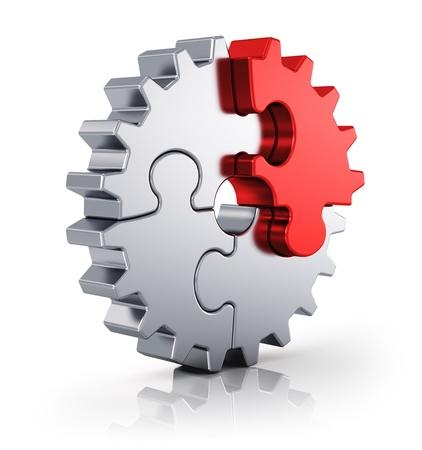 assembly: Creatividad del asunto, trabajo en equipo, la colaboración y el éxito concepto de engranajes de metal de las piezas del rompecabezas aislados en fondo blanco con efecto de reflexión