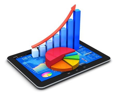 investigaci�n: La oficina m�vil, la bolsa de comercio de mercado, estad�sticas de la contabilidad, el desarrollo financiero y la banca de negocios moderno concepto de pantalla t�ctil tablet PC con la interfaz stock mercado de aplicaciones de software, el crecimiento de gr�fico de barras y un diagrama de tarta aislados en w