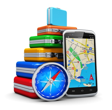 travelling: Creative business travel, tourism and GPS navigation concept  stack of color traveling cases or bags, modern black glossy touchscreen smartphone with GPS navigation  map application and blue metal magnetic compass isolated on white background