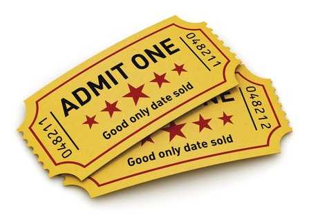 circus ticket: Cinema industry entertainment, film production and movie premiere concept  group of yellow tear-off tickets with Admit One text isolated on white background Stock Photo