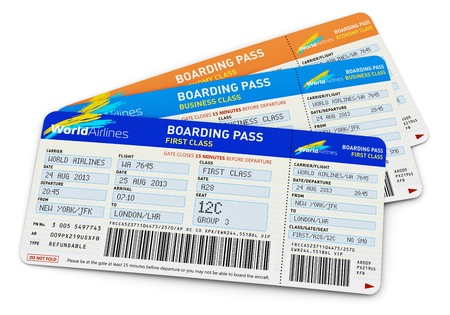 Air business travel transportation concept - group of color airline tickets for first, business and economy class travel isolated on white background Design is my own and all text labels are fully abstract