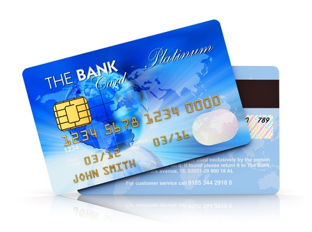 atm card: Electronic banking and finace business concept - set of blue plastic credit cards isolated on white background with reflection effect  Design is totally my own and all text labels are fully abstract