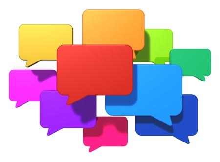 interacci�n: Los medios de comunicaci�n de redes sociales creativas, web chat, mensajer�a en l�nea y la comunicaci�n por Internet concepto de grupo de burbujas del discurso de colores brillantes o globos aislados sobre fondo blanco