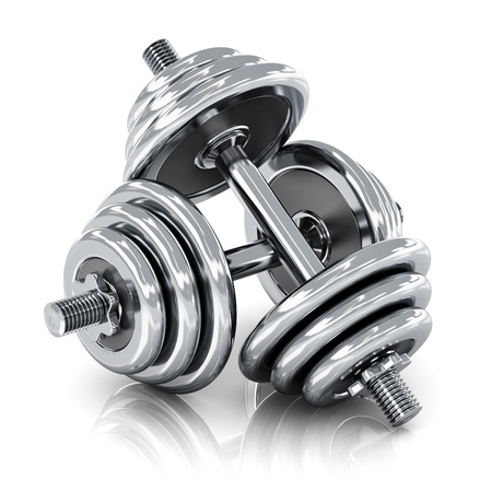 two object: Creative sport, fitness and healthy lifestyle concept  shiny metal dumbbells isolated on white background with reflection effect