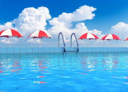 Creative travel, tourism and summer vacations concept  scenic view of swimming pool with blue water in tropical resort photo