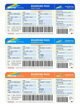 Air business travel transportation concept  group of color airline tickets for first, business and economy class travel isolated on white background  Design is totally my own and all text labels are fully abstract photo