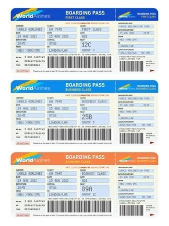 boarding card: Aria viaggi d'affari concetto di trasporto gruppo di biglietti aerei di colore prima, business e classe economica isolato su sfondo bianco Design � totalmente mia e tutti testo etichette sono completamente astratto Archivio Fotografico