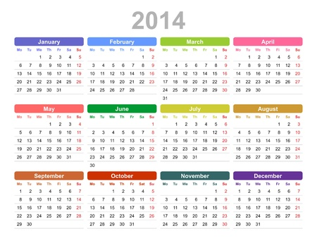 january 1st: Color vector illustration of 2014 year annual calendar  Monday first, English  Illustration