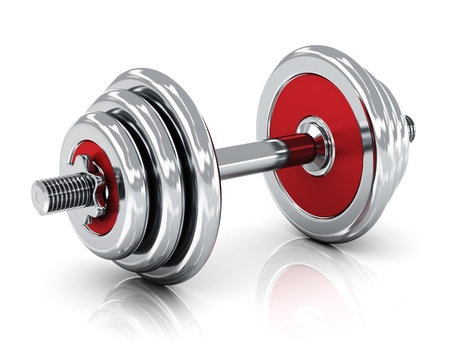 poise: Creative sport, fitness and healthy lifestyle concept  shiny metal dumbbell isolated on white background with reflection effect