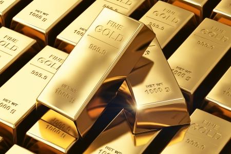 創造的な銀行、経済的な成功開発成長と利益ビュー投資の概念マクロのスタックおよびゴールドインゴットまたは金の地金バーの行