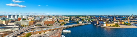 Scenic wide summer aerial panorama of the Old Town Gamla Stan in Stockholm, Sweden