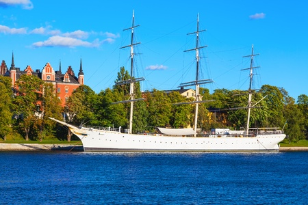 Scenic summer view of historical ship  photo