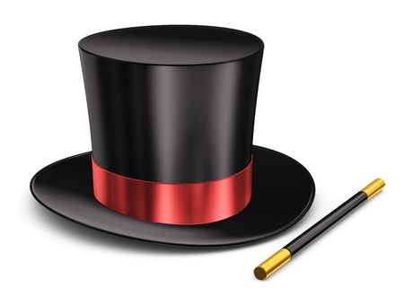 흰색 배경에 고립 된 빨간 리본 및 마술 지팡이 스틱 블랙 실크 마법의 모자