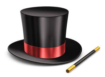 Zwarte zijde magische hoed met rode linten en toverstaf stok op een witte achtergrond Stockfoto