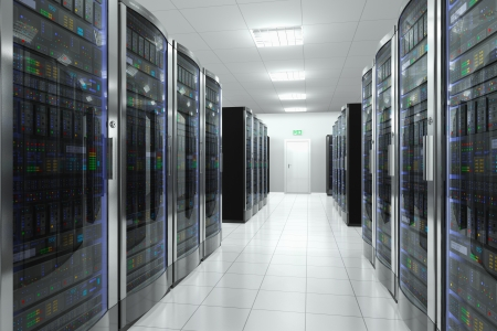 Modern network and telecommunication technology computer concept  server room in datacenter photo