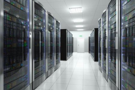 hospedagem: Rede e tecnologia moderna sala de servidores computador conceito de telecomunica