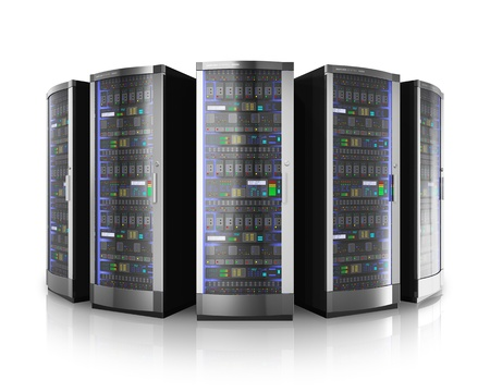 server rack: Row of network servers in data center isolated on white background with reflection effect